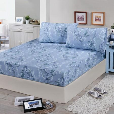 【FITNESS】精梳棉單人床包+枕套二件組-律彌爾(藍)