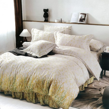 【Indian】100%純天絲雙人特大四件式鋪棉床包兩用被組-艾琳夢境