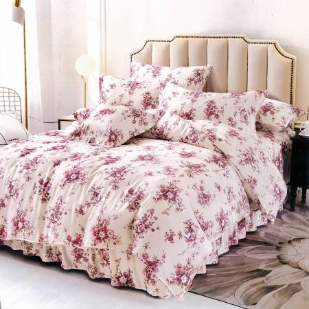 【Indian】100%純天絲雙人特大四件式鋪棉床包兩用被組-奧羅拉