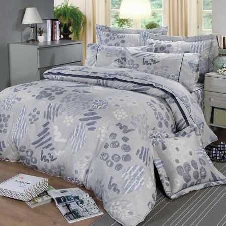 【FITNESS】精梳棉加大七件式床罩組-塗鴉樂(藍)
