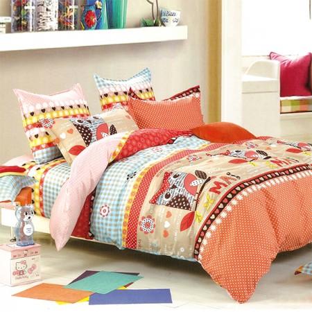 【Indian】純棉加大床包兩用被組--時尚貓人