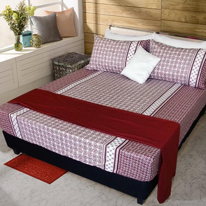 【FITNESS】精梳純棉加大床包+枕套三件組- 艾斯琴曲(紅)