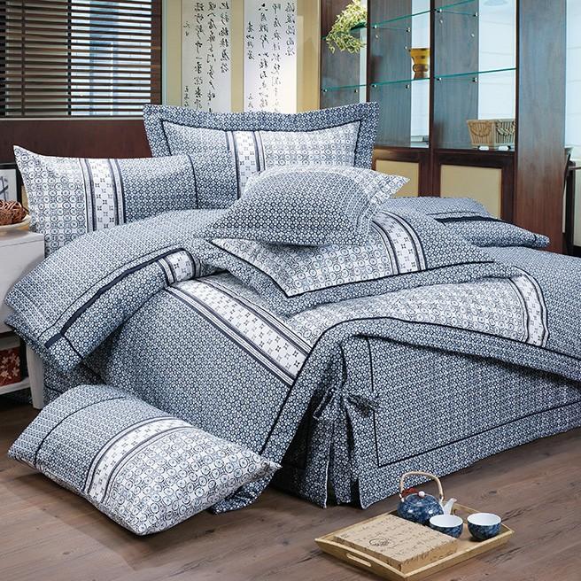 【FITNESS】精梳棉雙人四件式被套床包組- 艾斯琴曲(藍)