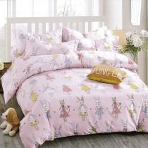 柔絲絨雙人四件式印花兩用被床包組- 繽紛
