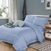 【FITNESS】60S天絲刺繡被套床包雙人特大四件組-湖水藍