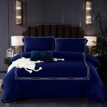 【FITNESS】60S天絲刺繡被套床包雙人四件組-經典藍
