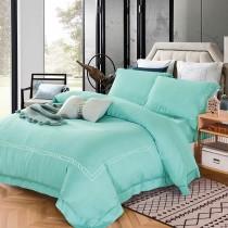【FITNESS】60S天絲刺繡被套床包雙人加大四件組-翡翠綠