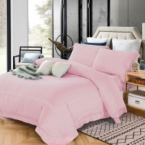 【FITNESS】60S天絲刺繡兩用被床包雙人四件組-甜心粉