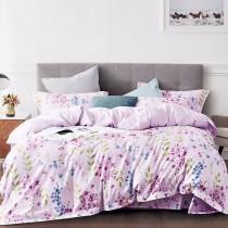 【Indian】新科技天絲吸濕排汗雙人加大兩用被床包四件組-紫色繡球