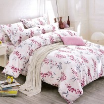 【Victoria】柔絲絨加大四件式印花兩用被床包組- 花卉