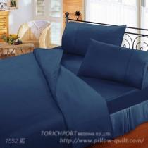 【Victoria】純棉機能雙人床包組-藍色