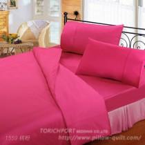 【Victoria】純棉機能雙人床包組-桃粉色
