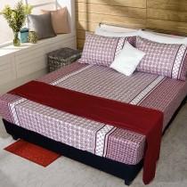 【FITNESS】精梳純棉特大床包+枕套三件組- 艾斯琴曲(紅)