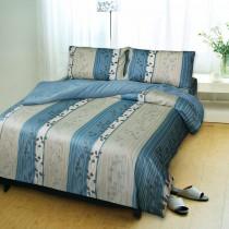 【Victoria】加大四件式純棉被套床包組-飄花藍