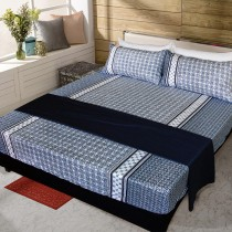 【FITNESS】精梳純棉加大床包+枕套三件組- 艾斯琴曲(藍)