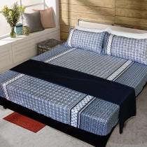 【FITNESS】精梳純棉特大床包+枕套三件組- 艾斯琴曲(藍)