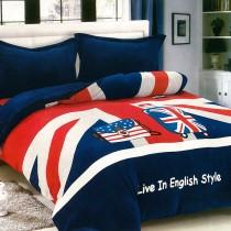 【Victoria】法蘭絨鋪棉雙人床包四件組-英倫旅行