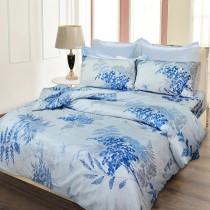 【FITNESS】剋菌寶雙人四件式純棉被套床包組-稻香藍