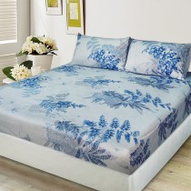 【FITNESS】剋菌寶純棉雙人床包+枕套三件組-稻香藍