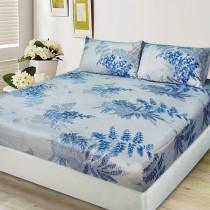 【FITNESS】剋菌寶純棉加大床包+枕套三件組-稻香藍