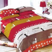 【Victoria】法蘭絨鋪棉加大床包四件組-城市