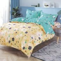 【Indian】柔絲絨雙人加大四件式印花兩用被床包組-戲彩