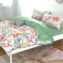 【Indian】柔絲絨雙人四件式印花兩用被床包組-花漾