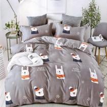 【Victoria】柔絲絨雙人加大抗菌床罩四件組-白熊