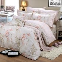 【FITNESS】精梳純棉特大床包+枕套三件組- 奧娜花園(粉)