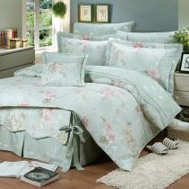 【FITNESS】精梳純棉特大床包+枕套三件組- 奧娜花園(綠)