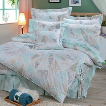 【FITNESS】精梳純棉加大七件式床罩組- 霓虹鏡(綠)