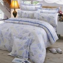 【FITNESS】精梳純棉加大七件式床罩組- 霓虹鏡(藍)