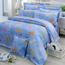【FITNESS】精梳棉單人三件式兩用被床包組- 貓線球(藍)