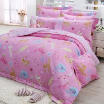 【FITNESS】精梳棉單人三件式兩用被床包組-貓線球(粉)