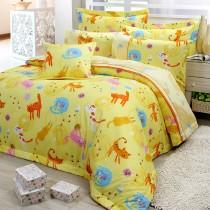【FITNESS】精梳棉單人三件式兩用被床包組-貓線球(黃)