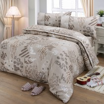【FITNESS】精梳棉單人三件式被套床包組-塗鴉樂(咖)