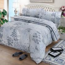 【FITNESS】精梳棉單人三件式被套床包組-塗鴉樂(藍)