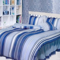 【Victoria】防蟎加大五件式床罩組-舞曲藍