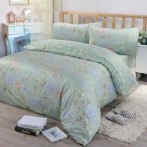 【FITNESS】精梳棉單人三件式被套床包組-芙若拉(綠)