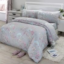 【FITNESS】精梳棉單人三件式被套床包組-芙若拉(灰)