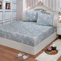 【FITNESS】精梳棉特大床包+枕套三件組-莉蒂亞(藍)