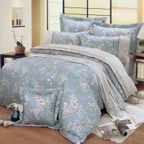 【FITNESS】精梳棉加大七件式床罩組-莉蒂亞(藍)