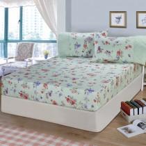 【FITNESS】精梳棉特大床包+枕套三件組-穠芳(綠)