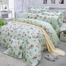 【FITNESS】精梳棉加大七件式床罩組-穠芳(綠)