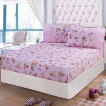 【FITNESS】精梳棉特大床包+枕套三件組-穠芳(粉)