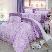 【FITNESS】精梳棉特大七件式床罩組-蒲花戀曲(紫)
