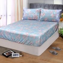 【FITNESS】精梳棉特大床包枕套三件組-佛洛拉(藍綠)