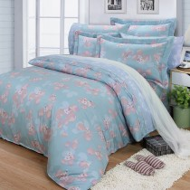 【FITNESS】精梳棉特大七件式床罩組-佛洛拉(藍綠)