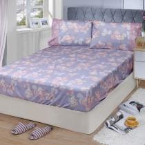 【FITNESS】精梳棉特大床包枕套三件組-佛洛拉(紫)