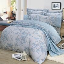 【FITNESS】精梳棉加大七件式床罩組-花妍戀曲(藍)